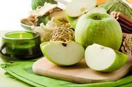 Green apple dessert on cutting board Stock Photos