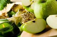 Green apple dessert on cutting board Stock Photos