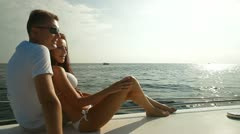 Couple Enjoying the Cruise on Luxury Yacht Stock Footage
