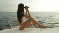 Bikini Beauty With Binoculars on Yacht - stock footage