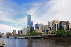 Melbourne city skyline Stock Photos