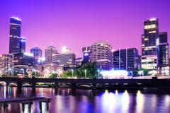 Night Urban City Skyline. Melbourne. Australia Stock Photos