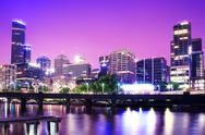 Stock Photo of Night Urban City Skyline. Melbourne. Australia