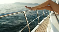 Beauty on Luxury Yacht Stock Footage