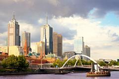 Beautiful view of Melbourne city at sunset Stock Photos
