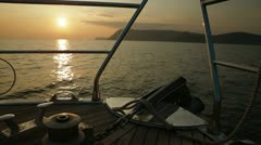 Bow of Sailing Yacht at Sunset Stock Footage