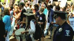 Protest drummer in charlotte democratic national convention 2012 Stock Footage