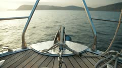 Bow of Sailing Yacht Stock Footage