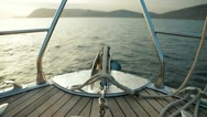 Stock Video Footage of Bow of Sailing Yacht
