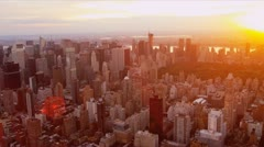 Aerial view at sunset of Central Park, New York - stock footage
