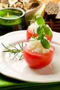 Stuffed tomatoes with rice Stock Photos