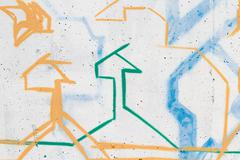 Abstract colorful graffiti background in a wall Stock Illustration