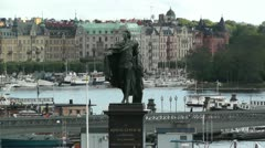 Stockholm Downtown 05 view from Gamla Stan Stock Footage