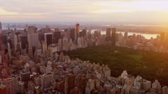 Aerial view at sunset of Central Park, New York Stock Footage