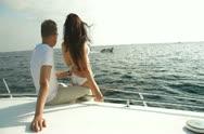 Couple Enjoying Vacation on a Speedboat Stock Footage