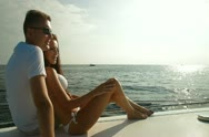 Stock Video Footage of Couple Enjoying the Cruise on Luxury Yacht
