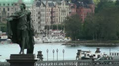 Stockholm Downtown 06 view from Gamla Stan Stock Footage