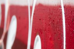 crazy red graffiti perspective with depth of field - stock illustration