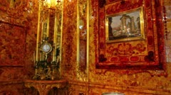 Amber room in Pushkin St. Petersburg Russia Stock Footage