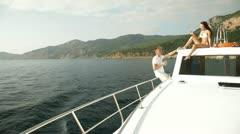 Couple Enjoying The Cruise on Yacht Stock Footage