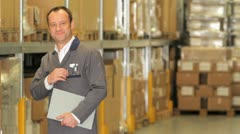 Warehouse manager / warehouse worker Stock Footage