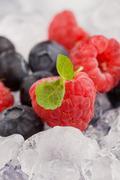 berries on ice - stock photo
