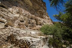Wall side cave dwellings of ancient native Americans near Montezuma Castle. Stock Photos
