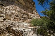 Stock Photo of Wall side cave dwellings of ancient native Americans near Montezuma Castle.