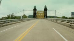 Pittsburgh's 16th Street Bridge Driving POV Forward Perspective Stock Footage