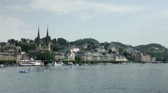 Lucerne Switerland boat dock Stock Footage