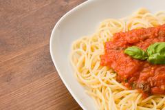spaghetti with toamtoe sauce - stock photo