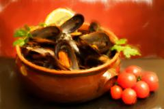 bowl with mussels soup - oil paint - stock illustration