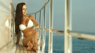 Stock Video Footage of Bikini Beauty on Luxury Yacht