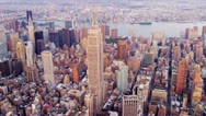 Aerial view Empire State Building Manhattan, New York Stock Footage
