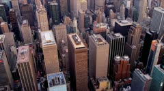 Aerial view  of skyscrapers Midtown Manhattan, New York Stock Footage