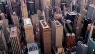 Aerial view  of skyscrapers Midtown Manhattan, New York Stock Footage