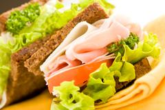 cheese and ham sandwich 2 - stock photo
