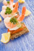 prawns canapes - stock photo
