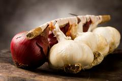 onion and garlic - stock photo