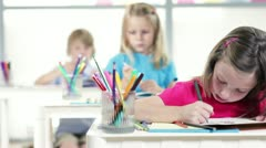 Kindergarten girl working in class 1 Stock Footage