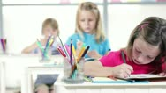 Stock Video Footage of kindergarten girl working in class 1