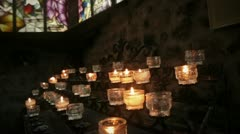 Candles in church Stock Footage