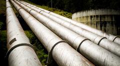 massive pipes - stock photo