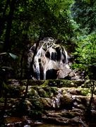 mexican jungle waterfall - stock photo