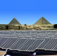 Solar panels in Egypt - stock photo