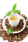 espresso with green leaves on white background - stock photo
