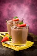 chocolate mousse - pudding - stock photo