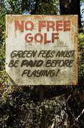 no free golf sign - stock photo