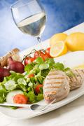 grilled tuna steak with salad - stock photo