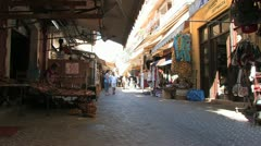 Food market hall and stalls in Crete, Greece Stock Footage